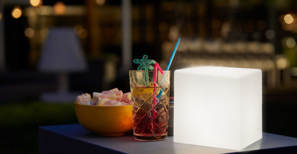 remote control LED cube light on the table